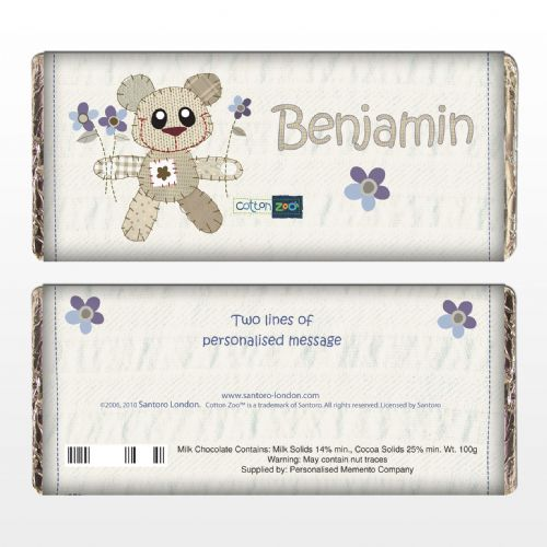 Personalised Cotton Zoo Boys Tweed the Bear Chocolate Bar